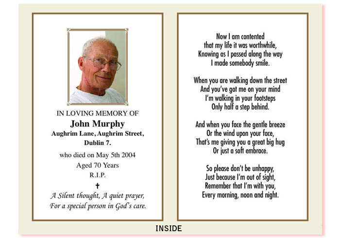 in memoriam cards template - bolton ireland in memoriam cards memorial